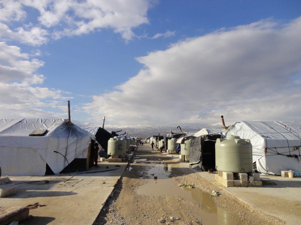 レバノンにあるシリア難民のキャンプ風景
