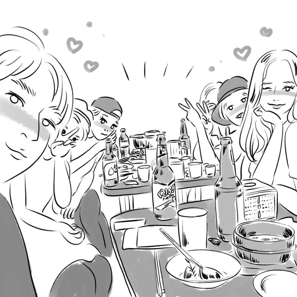 韓国人の2人組と一緒にお酒を飲みました