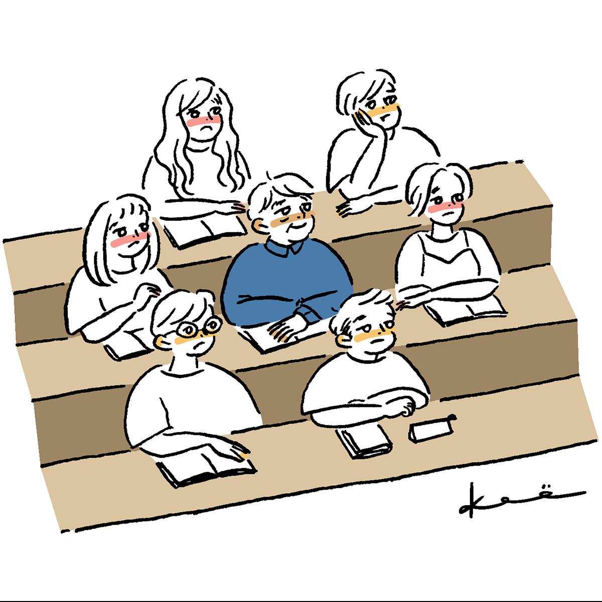 若者に混じって授業を受ける村田さん