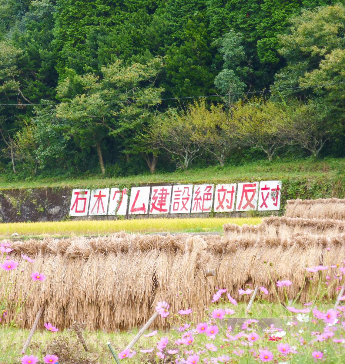 美しい里山の風景に溶け込む「ダム反対」の看板
