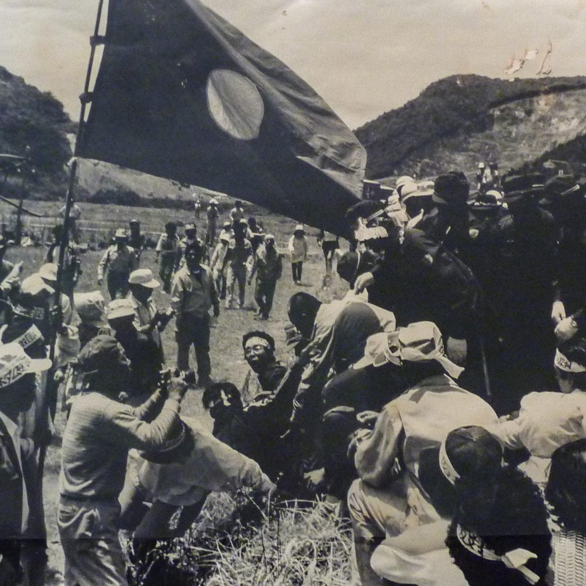 住民と機動隊の衝突。