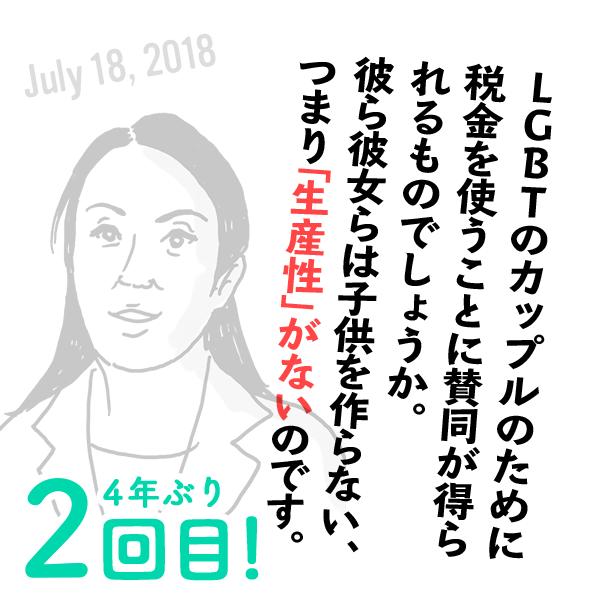 杉田水脈の失言(2018年7月18日)
