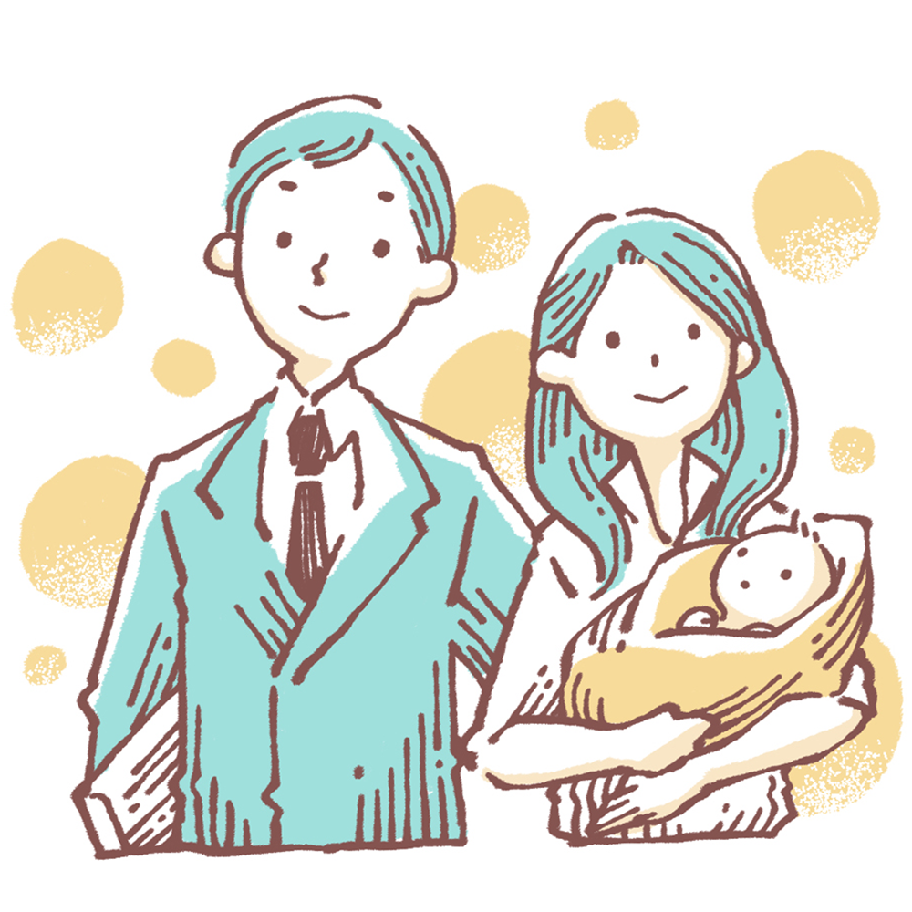 共働きの子育て家庭のイラスト