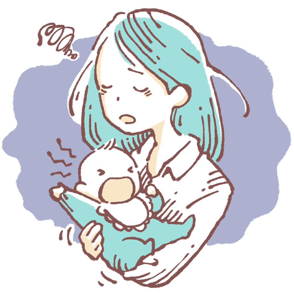 赤ちゃんの夜泣きでつらそうなお母さん